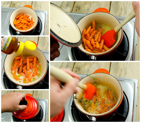 Making the honeyed carrots