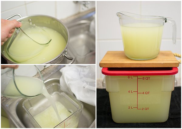 5.Pouring off and storing the whey