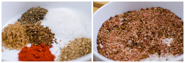 Mixing the spice rub