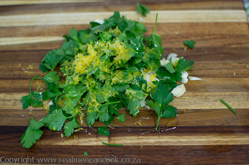 Lemon zest and parsley for Gremolata