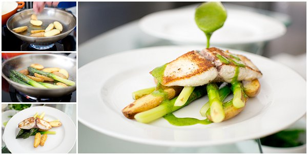Yellowtail with Asparagus and Potatoes with Garlic & Parsley dressing